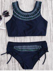 Tie Side Print Lace-Up Bikini Set