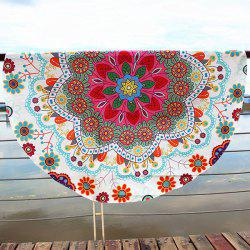 Floral Printed Bohemian Round Beach Throw