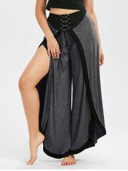 Lace Up High Slit Wide Leg Pants - MOUSE GREY