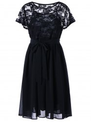 Plus Size Lace Panel Sheer Flowy Dress