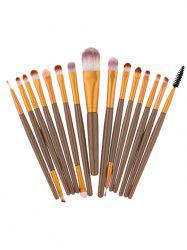 15Pcs Nylon Face Eye Makeup Brushes Set - BROWN