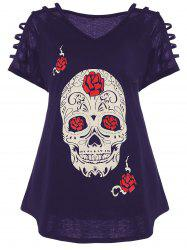 Plus Size Cut Out Skull Print Tee