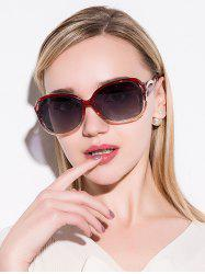 Hollow Cut Reflective Anti UV Sunglasses - TEA-COLORED