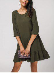 Three Quarter Sleeve Ruffles Shift Dress -