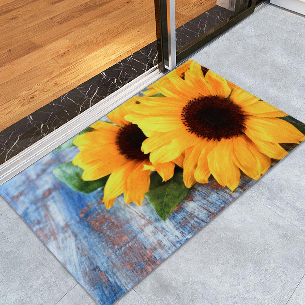 Coral Velvet Sunflower Non-Slip Area RugHOME<br><br>Size: W24 INCH * L35.5 INCH; Color: COLORMIX; Products Type: Bath rugs; Materials: Coral FLeece; Pattern: Floral; Style: Fashion; Shape: Rectangle; Package Contents: 1 x Rug;
