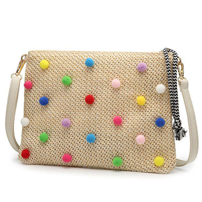 Outfit Embellished Straw Woven Crossbody Bag