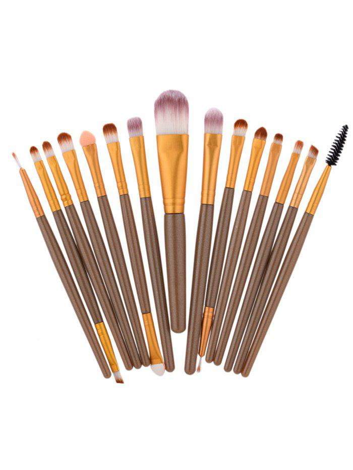 15Pcs Nylon Face Eye Makeup Brushes SetBEAUTY<br><br>Color: BROWN; Category: Makeup Brushes Set; Brush Hair Material: Nylon; Features: Limits Bacteria; Season: Fall,Spring,Summer,Winter; Weight: 0.1000kg; Package Contents: 15 x Brushes ( Pcs );