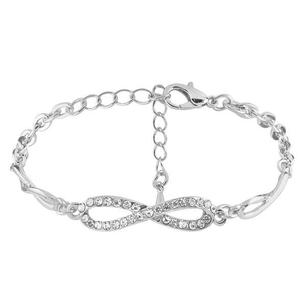 Rhinestone 8 Infinite Chain BraceletJEWELRY<br><br>Color: SILVER; Item Type: Chain &amp; Link Bracelet; Gender: For Women; Chain Type: Link Chain; Material: Rhinestone; Style: Trendy; Shape/Pattern: Geometric; Length: 22.5CM; Weight: 0.0300kg; Package Contents: 1 x Bracelet;