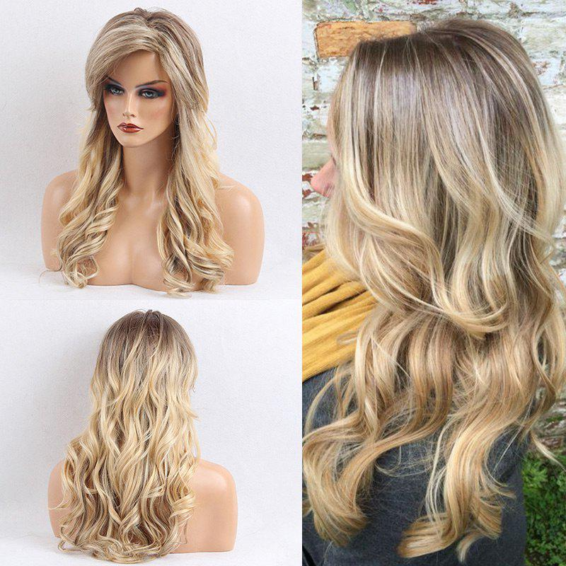 Long Side Bang Colormix Gradient Wavy Human Hair WigHAIR<br><br>Color: COLORMIX; Type: Full Wigs; Cap Construction: Capless (Machine-Made); Style: Wavy; Cap Size: Average; Material: Human Hair; Bang Type: Side; Length: Long; Occasion: Daily; Length Size(CM): 56; Weight: 0.3000kg; Package Contents: 1 x Wig;
