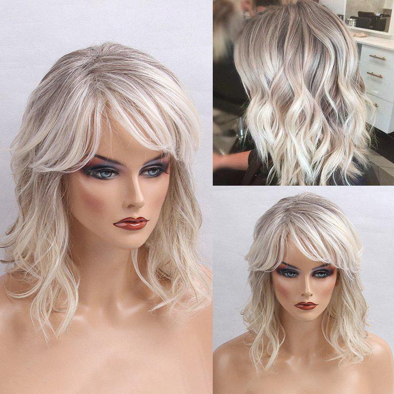 Medium Inclined Bang Colormix Shaggy Natural Wavy Human Hair WigHAIR<br><br>Color: COLORMIX; Type: Full Wigs; Cap Construction: Capless; Style: Wavy; Cap Size: Average; Material: Human Hair; Bang Type: Side; Length: Medium; Occasion: Daily; Length Size(CM): 42; Weight: 0.2600kg; Package Contents: 1 x Wig;