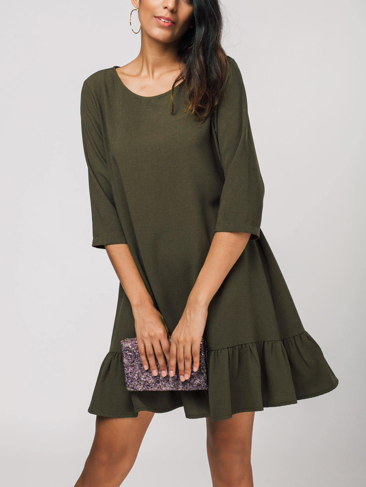 Best Three Quarter Sleeve Ruffles Shift Dress