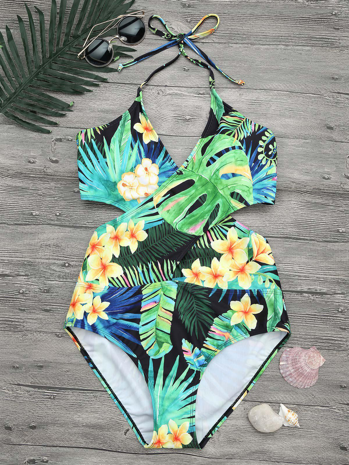 Tropical Floral Plus Size Wrap SwimsuitWOMEN<br><br>Size: XL; Color: COLORMIX; Gender: For Women; Swimwear Type: One Piece; Material: Nylon,Spandex; Bra Style: Padded; Support Type: Wire Free; Pattern Type: Floral; Waist: Natural; Weight: 0.2700kg; Package Contents: 1 x Swimsuit;