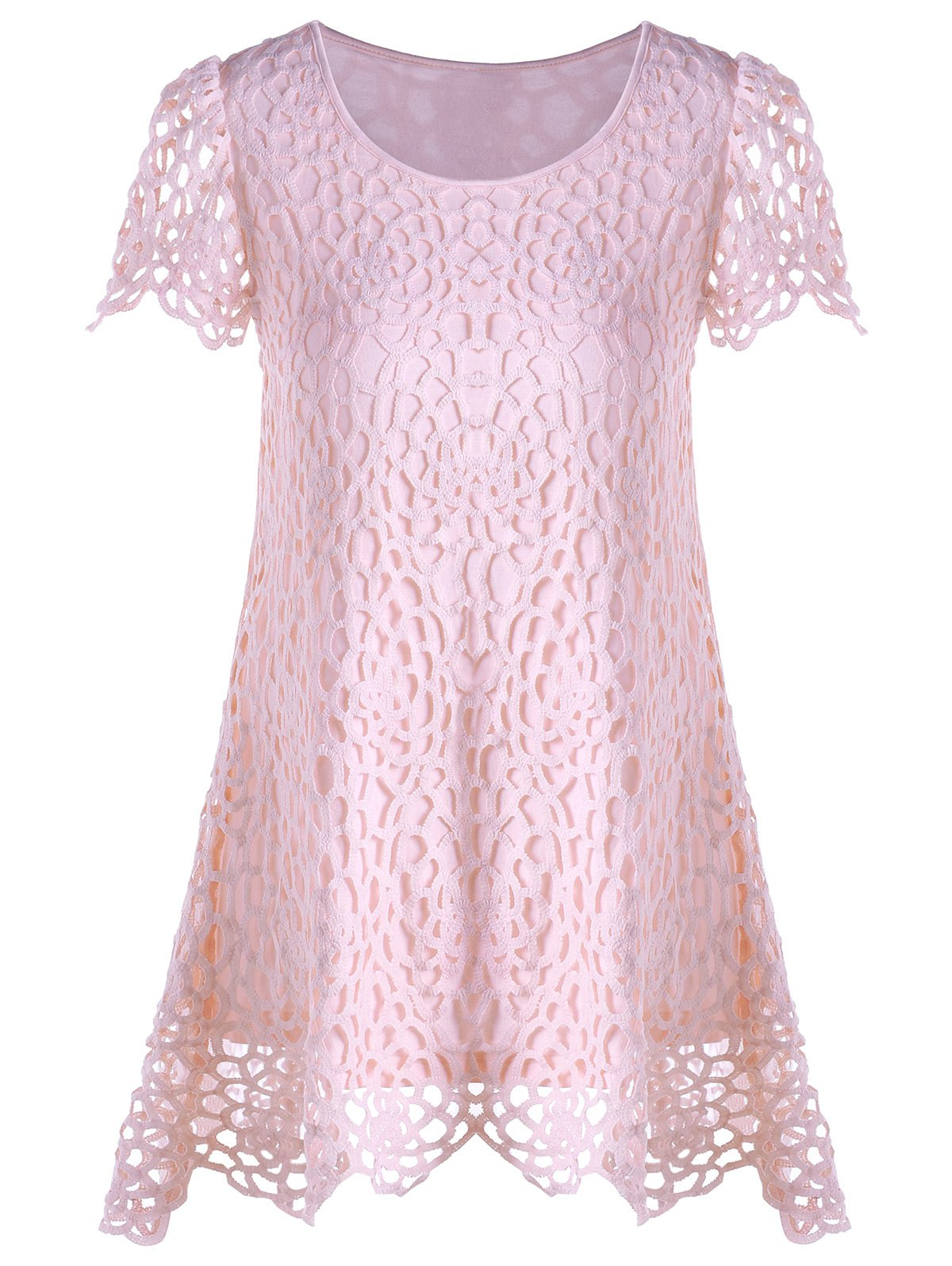 Outfit Asymmetrical Lace Panel Overlay T-shirt