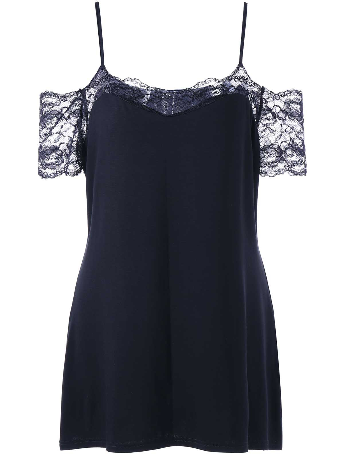 Plus Size Lace Panel Dew Shoulder T-shirtWOMEN<br><br>Size: 3XL; Color: BLACK; Material: Rayon,Spandex; Shirt Length: Regular; Sleeve Length: Short; Collar: Spaghetti Strap; Style: Casual; Season: Summer; Embellishment: Lace; Pattern Type: Solid; Weight: 0.2300kg; Package Contents: 1 x T-shirt;