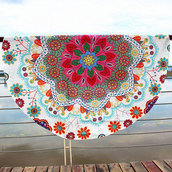 Floral Printed Bohemian Round Beach ThrowACCESSORIES<br><br>Color: BEIGE; Scarf Type: Scarf; Group: Adult; Gender: Unisex; Style: Vintage; Material: Polyester; Pattern Type: Floral,Print; Season: Fall,Spring,Summer,Winter; Scarf Length: Diameter: 147CM; Weight: 0.2000kg; Package Contents: 1 x Beach Throw;