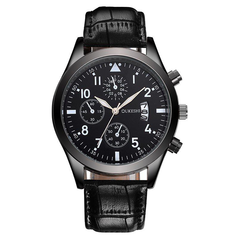 OUKESHI Date Number Faux Leather Strap WatchJEWELRY<br><br>Color: BLACK; Gender: For Men; Style: Fashion; Type: Quartz watch; Index Dial: Analog; Case material: Alloy; Band material: PU Leather; Movement: Quartz; Dial Shape: Round; Water-Proof: No; Case Thickness(MM): 20mm; Dial Diameter: 4cm; Band Length(CM): 25.5cm; Band Width(CM): 2cm; Package Contents: 1 x Watch;