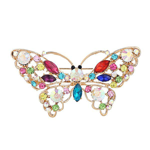 Faux Crystal Rhinestone Butterfly BroochJEWELRY<br><br>Color: COLORMIX; Brooch Type: Brooch; Gender: For Women; Material: Rhinestone; Style: Trendy; Shape/Pattern: Insect; Length: 6.8CM; Weight: 0.0400kg; Package Contents: 1 x Brooch;