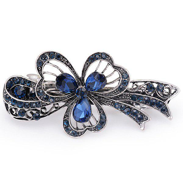 Faux Sapphire Hollow Out Flower BarretteACCESSORIES<br><br>Color: BLUE; Headwear Type: Barrette; Group: Adult; Gender: Unisex; Style: Fashion; Pattern Type: Floral; Shape/Pattern: Floral; Material: Alloy; Weight: 0.0100kg; Package Contents: 1`x Barrette;