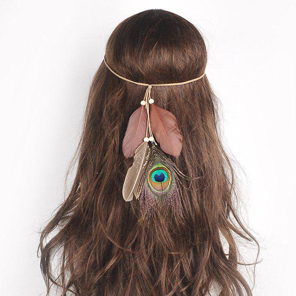 Peacock Feather Indian Charm HeadwearACCESSORIES<br><br>Color: BROWN; Group: Adult; Gender: For Women; Style: Vintage; Shape/Pattern: Feather; Weight: 0.0300kg; Package Contents: 1 x Hair Accessory;