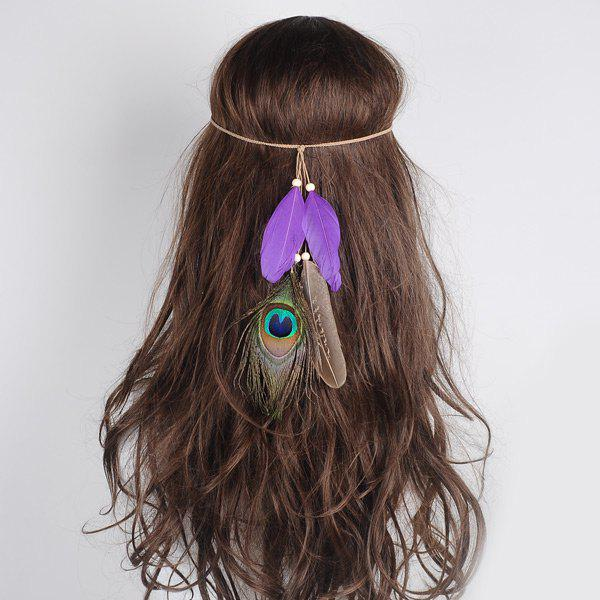 Peacock Feather Indian Charm HeadwearACCESSORIES<br><br>Color: PURPLE; Group: Adult; Gender: For Women; Style: Vintage; Shape/Pattern: Feather; Weight: 0.0300kg; Package Contents: 1 x Hair Accessory;