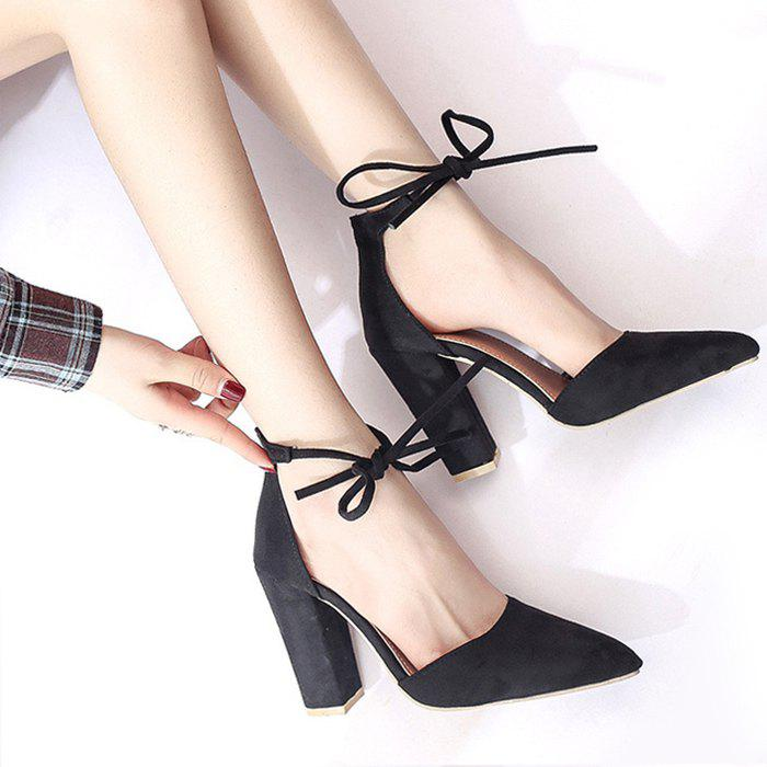 Latest Ankle Lace Chunky Heel Pointed Toe Pumps
