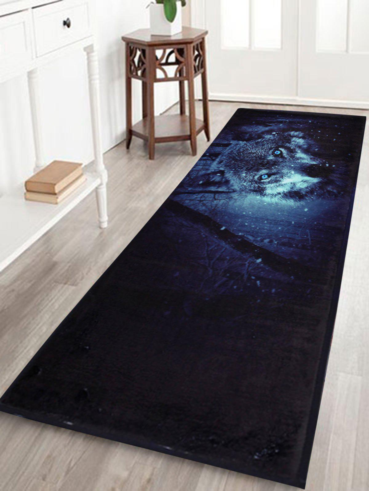 Snow Wolf Slip Resistant Coral Fleece Area RugHOME<br><br>Size: W24 INCH * L71 INCH; Color: MIDNIGHT; Products Type: Bath rugs; Materials: Coral FLeece; Pattern: Animal; Style: Trendy; Shape: Rectangle; Package Contents: 1 x Rug;