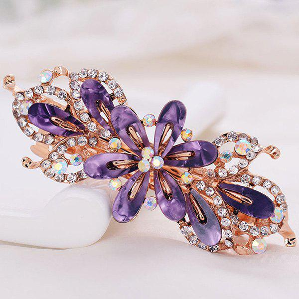 Faux Crystal Floral Hollow Out BarretteACCESSORIES<br><br>Color: PURPLE; Headwear Type: Barrette; Group: Adult; Gender: For Women; Style: Fashion; Pattern Type: Floral; Shape/Pattern: Floral; Material: Alloy; Weight: 0.0100kg; Package Contents: 1 x Barrette;
