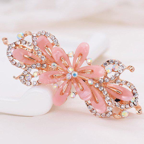 Faux Crystal Floral Hollow Out BarretteACCESSORIES<br><br>Color: LIGHT PINK; Headwear Type: Barrette; Group: Adult; Gender: For Women; Style: Fashion; Pattern Type: Floral; Shape/Pattern: Floral; Material: Alloy; Weight: 0.0100kg; Package Contents: 1 x Barrette;