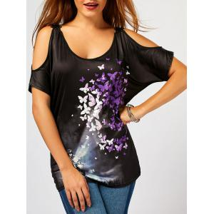 Butterfly Print Lace Insert Cold Shoulder Blouse