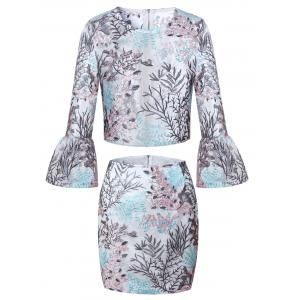 Floral Embroidery See Tru Two Piece Skirt Set