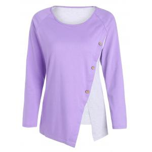 Oblique Button Color Block Long Sleeve T-Shirt - Light Purple - S