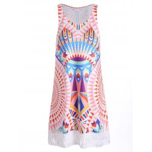 Bohemia Geometry Print Fringed Tank Dress