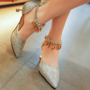 Wedding Beaded High Heel Glitter Pumps