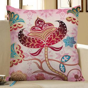 Floral Print Decorative Linen Pillow Case