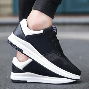 Breathable Mesh Faux Suede Casual Shoes - Black White - 40