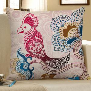 Bird Flower Printed Decorative Pillow Case