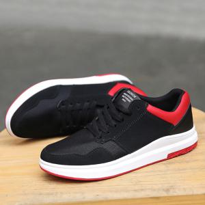 Breathable Mesh Faux Suede Casual Shoes - BLACK RED 44