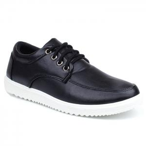 Lace Up Faux Leather Casual Shoes - Black - 40