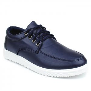 Lace Up Faux Leather Casual Shoes - Deep Blue - 40