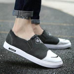 Slip On Color Block Canvas Shoes - Deep Gray - 44