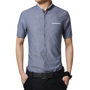 Faux Pocket Mandarin Collar Shirt - Denim Blue - L