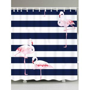 Flamingo Striped Print Waterproof Shower Curtain - Colorful - W71 Inch * L79 Inch