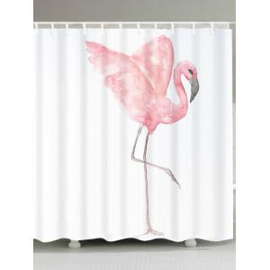 Extra Long Watercolor Painting Flamingo Shower Curtain