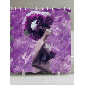 Oil Painting Girl Waterproof Fabric Shower Curtain