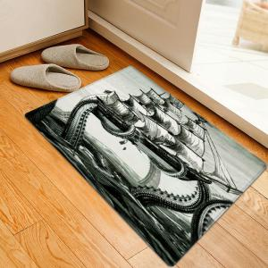 Giant Squid Attacking Ship Pattern Anti-skid Water Absorption Area Rug
