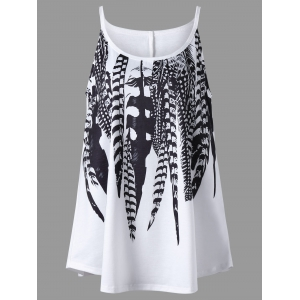 Plus Size Feather Print Cami Top