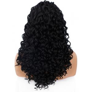 Adidas Long Shaggy Side Part Deep Curly Lace Front perruque synthétique -
