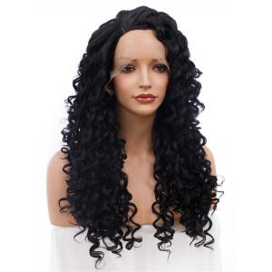 Adiors Long Shaggy Side Part Deep Curly Lace Front Synthetic Wig - BLACK