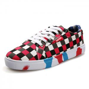 Color Block Tie Up Chaussures de toile -