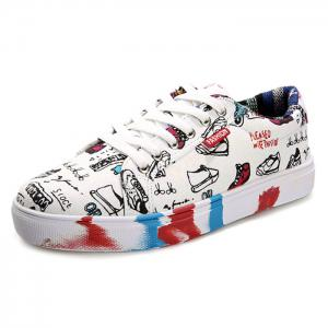 Color Block Tie Up Canvas Shoes -